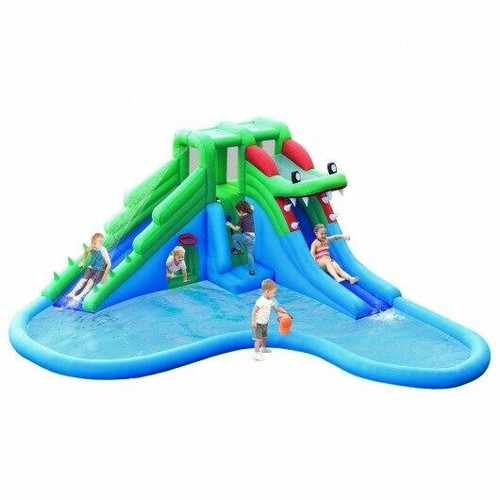 Inflatable Water Park Crocodile Bouncer Dual Slide Climbing Wall