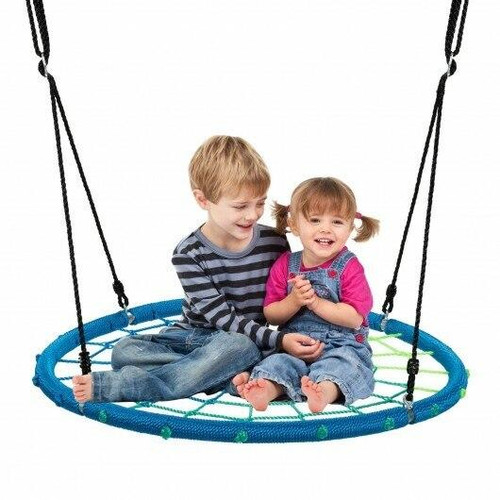 40 Spider Web Tree Swing Kids Outdoor Play Set with Adjustable Ropes-Blue