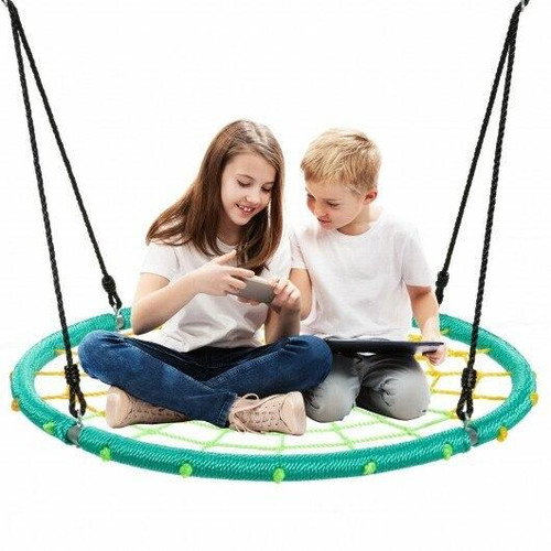 40 Spider Web Tree Swing Kids Outdoor Play Set with Adjustable Ropes-Green