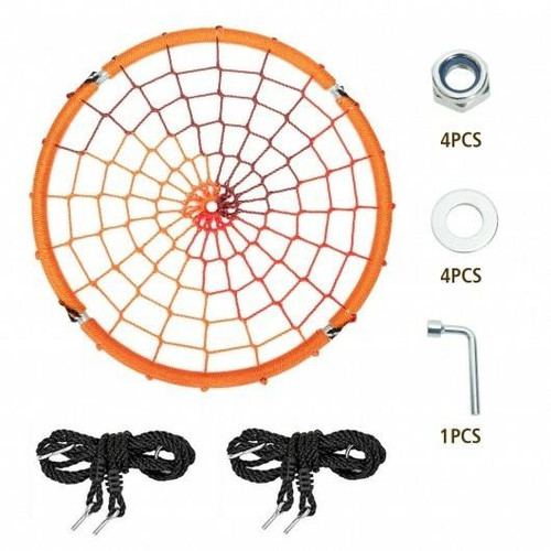 40 Spider Web Tree Swing Kids Outdoor Play Set with Adjustable Ropes-Orange