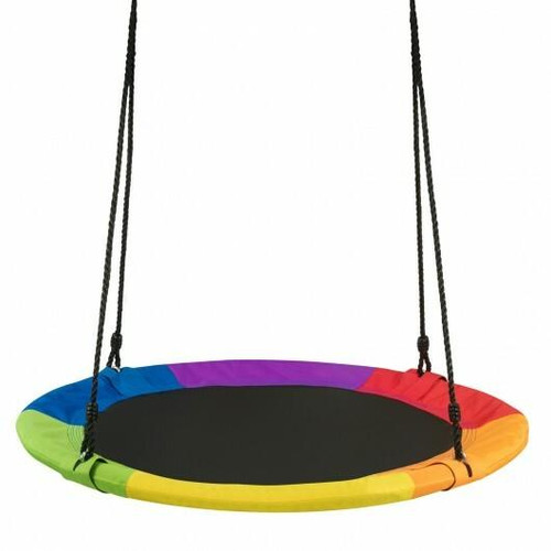 40 770 lbs Flying Saucer Tree Swing Kids Gift with 2 Tree Hanging Straps-Multicolor