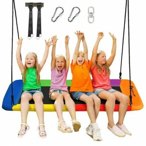 60 Platform Tree Swing Outdoor with 2 Hanging Straps-Multicolor