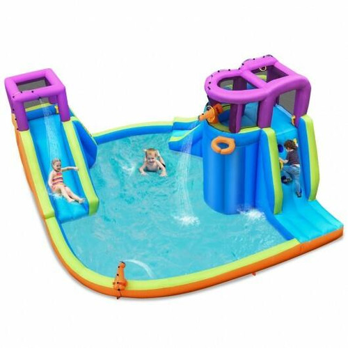 6-in-1 Inflatable Dual Slide Water Park Bounce House Without Blower