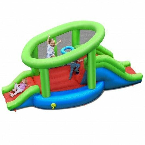 Inflatable Dual Slide Basketball Game Bounce House Without Blower