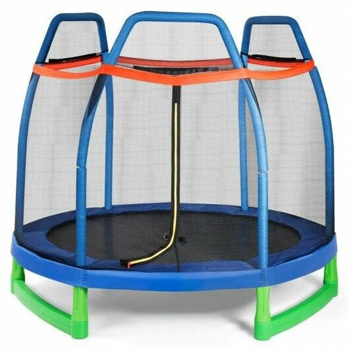 7 Ft Kids Trampoline W/ Safety Enclosure Net
