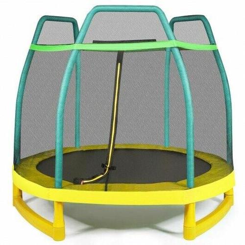 7FT Kids Trampoline W/ Safety Enclosure Net-Green