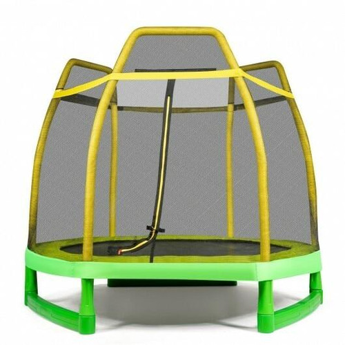 7 ft Kids Trampoline W/ Safety Enclosure Net-Yellow