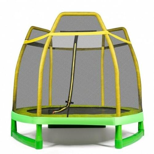 7 ft Kids Trampoline W/ Safety Enclosure Net-Yellow