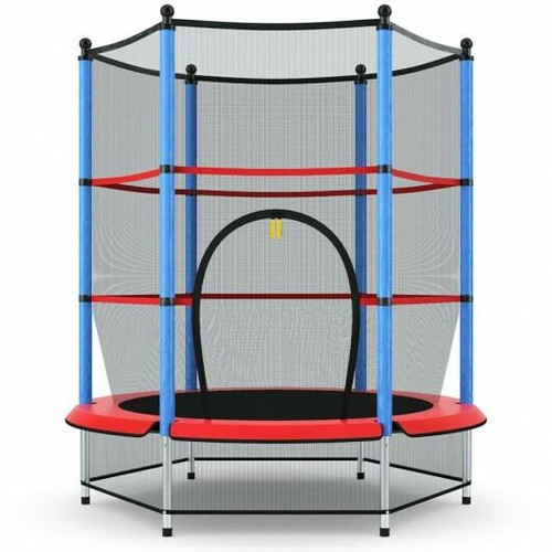 55 Youth Jumping Round Trampoline with Safety Pad Enclosure-Blue