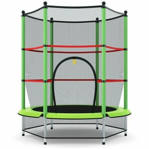 55 Youth Jumping Round Trampoline with Safety Pad Enclosure-Green