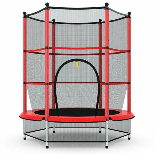 55 Youth Jumping Round Trampoline with Safety Pad Enclosure-Red