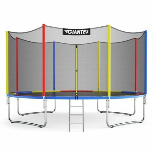14 Ft Trampoline with Safety Enclosure Net and Ladder Outdoor for Kids Adults