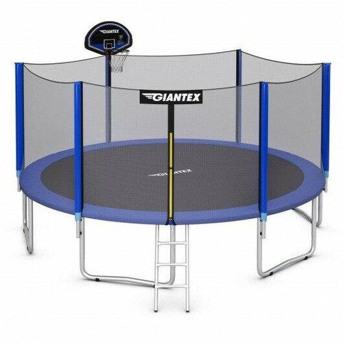 12FT Outdoor Trampoline for Kids with Safety Enclosure Net