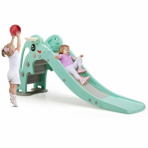 3-in-1 Kids Climber Slide Play Set with Basketball Hoop and Ball-Green