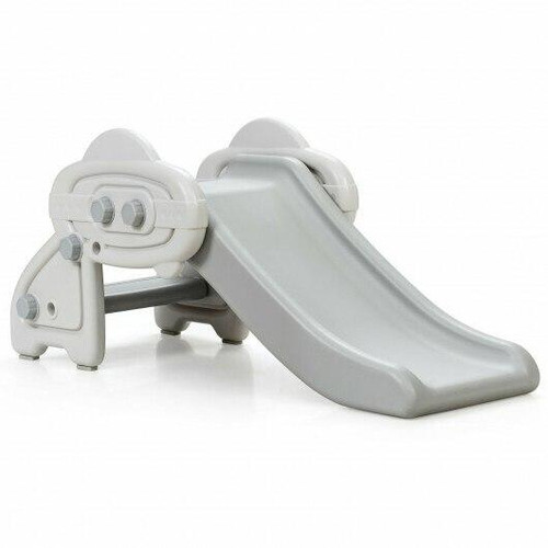 Freestanding Baby Mini Play Climber Slide Set with HDPE anf Anti-Slip Foot Pads-Gray