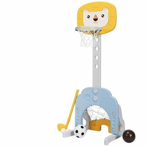 3-in-1 Adjustable Kids Basketball Hoop Sports Set-Yellow