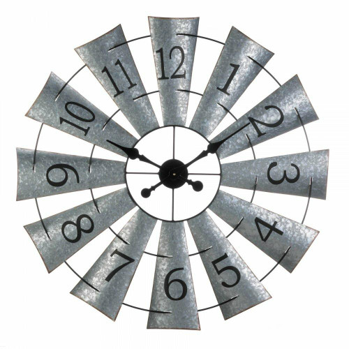 Accent Plus Galvanized Windmill Wall Clock
