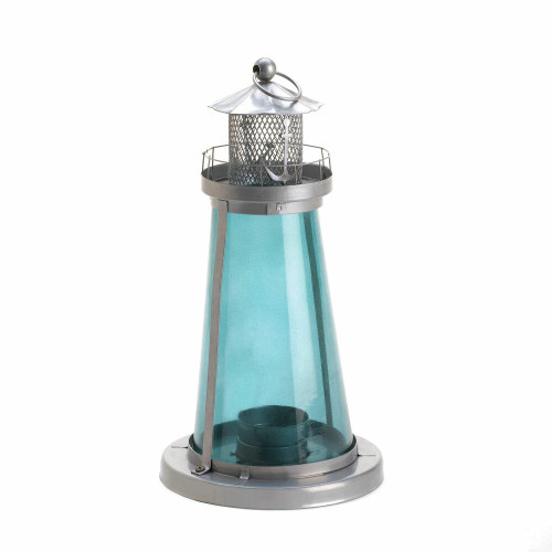Accent Plus Blue Glass Lighthouse Lantern