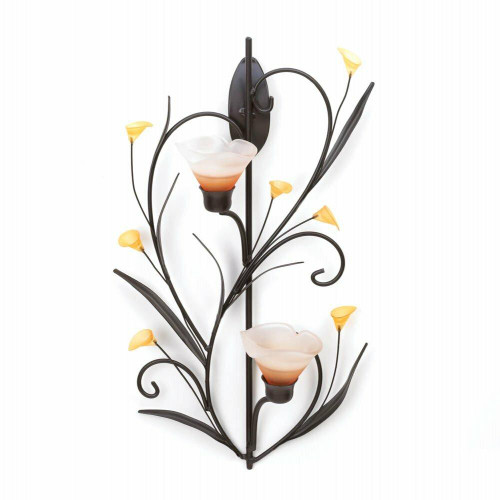 Accent Plus Amber Lilies Candle Wall Sconce