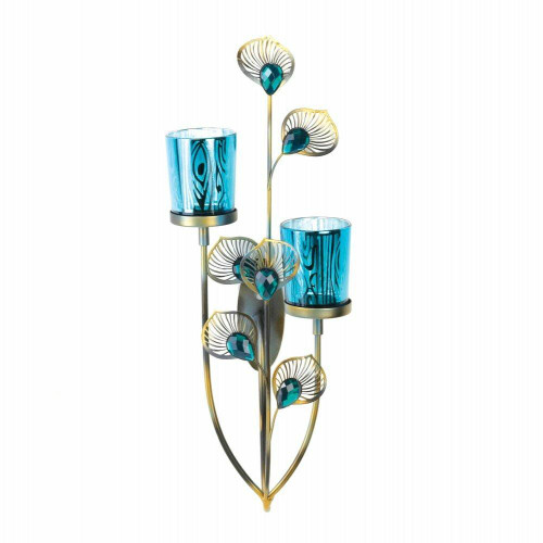 Accent Plus Peacock Plume Candle Wall Sconce