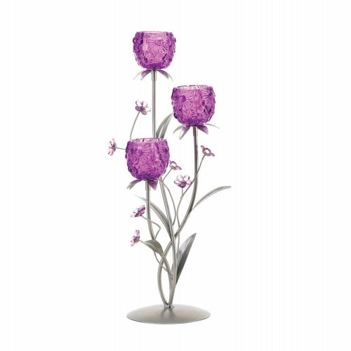 Accent Plus Fuchsia Blooms Candleholder