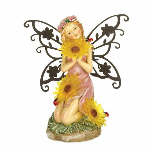 Accent Plus Garden Blooms Fairy Solar Statue