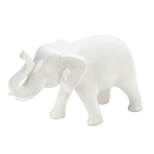 Accent Plus Small White Ceramic Elephant