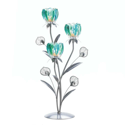 Accent Plus Triple Peacock Bloom Candleholder