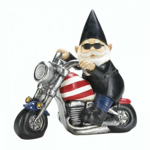 Accent Plus Biker Gnome Solar Statue