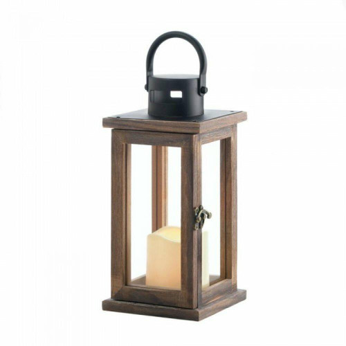 Accent Plus Lodge Wooden Lantern With Led Candle