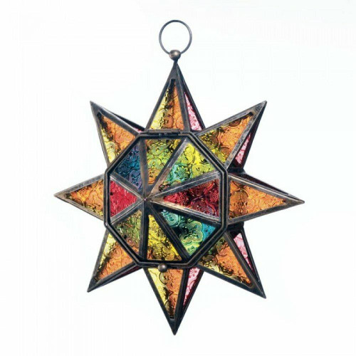 Accent Plus Multi Faceted Colorful Star Lantern