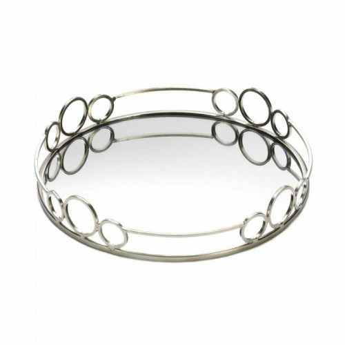 Accent Plus Silver Circles Mirrored Tray