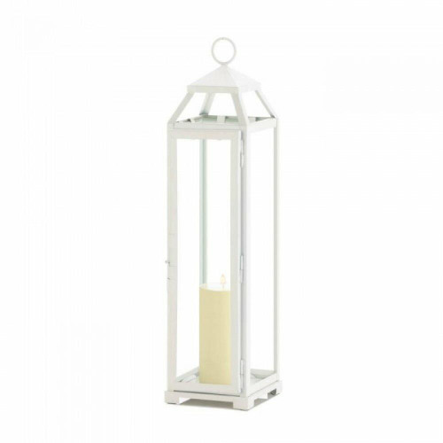 Accent Plus Tall Country White Open Top Lantern