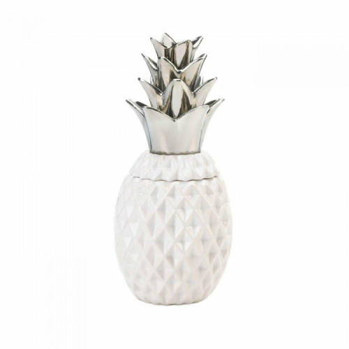 Accent Plus 12and#34; Silver Topped Pineapple Jar