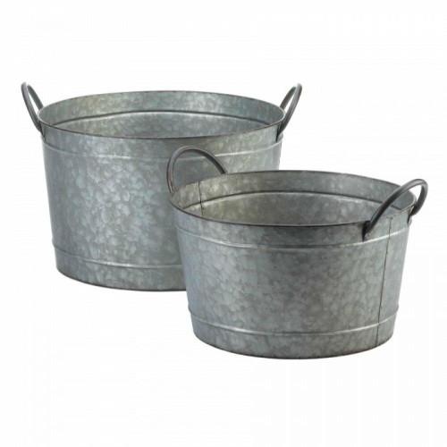 Summerfield Terrace Galvanized Bucket Planter Duo