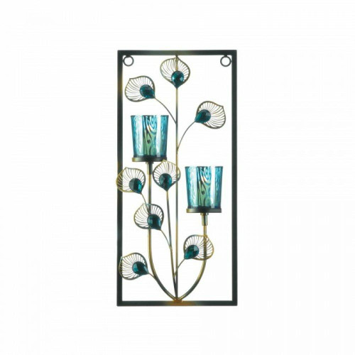 Accent Plus Peacock Two Candle Wall Sconce