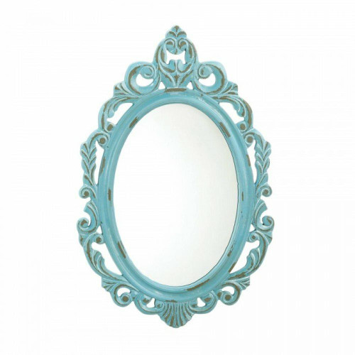 Accent Plus Distressed Baby Blue Wall Mirror