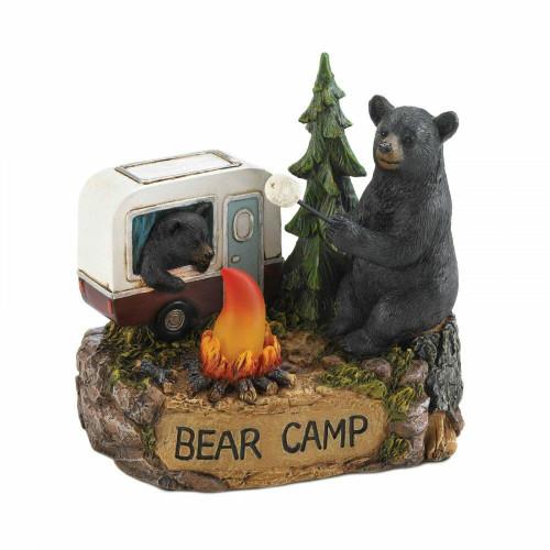 Summerfield Terrace Camping Bear Family Light Up Figurine