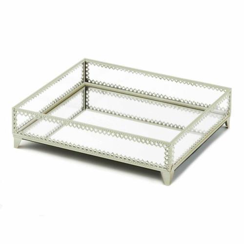 Accent Plus Silver Trim Glass Tray