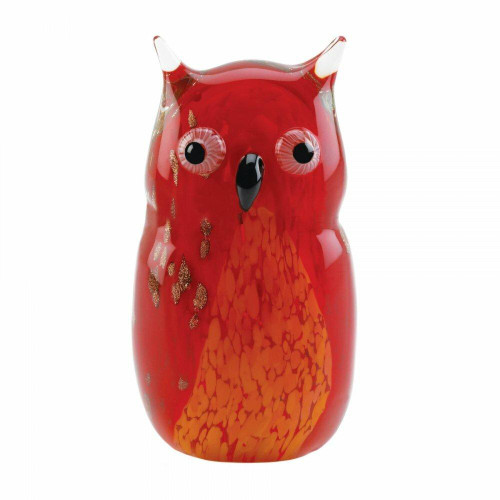 Accent Plus Red Owl Art Glass