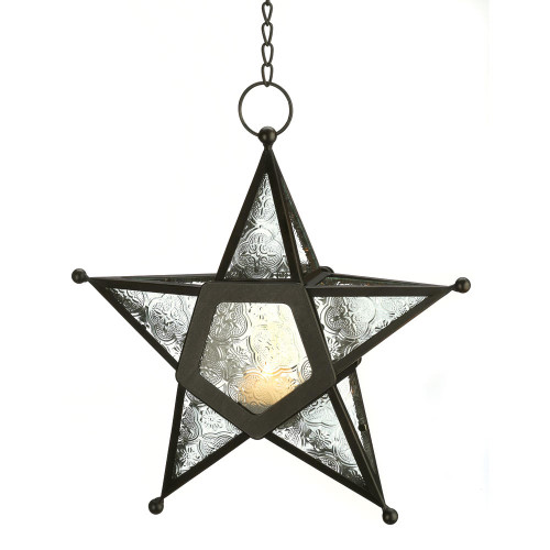 Accent Plus Clear Glass Star Lantern