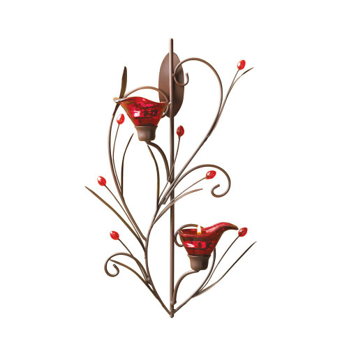 Accent Plus Ruby Blossom Tealight Sconce