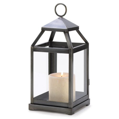 Accent Plus Rustic Silver Candle Lantern