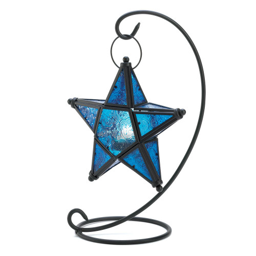 Accent Plus Blue Glass Star Lantern Stand
