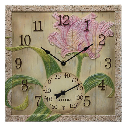 TAYLORR PRECISION PRODUCTS Taylor Precision Products 14-inch X 14-inch Beachwood Flower Clock With Thermometer