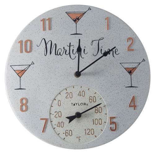 TAYLORR PRECISION PRODUCTS Taylor Precision Products 14-inch Clock With Thermometer martini Time