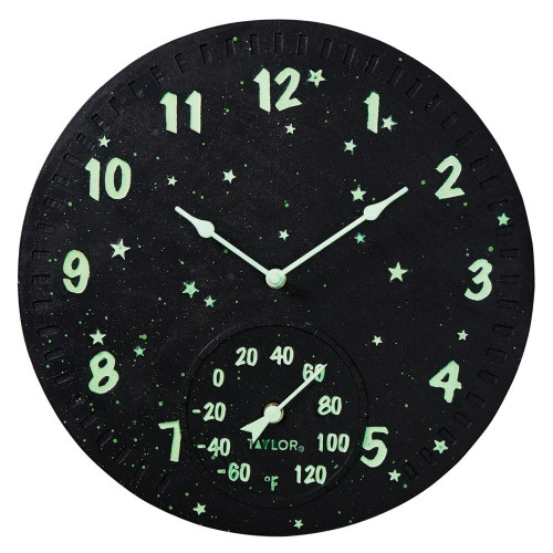 TAYLORR PRECISION PRODUCTS Taylor Precision Products 14-inch Clock With Thermometer galaxy