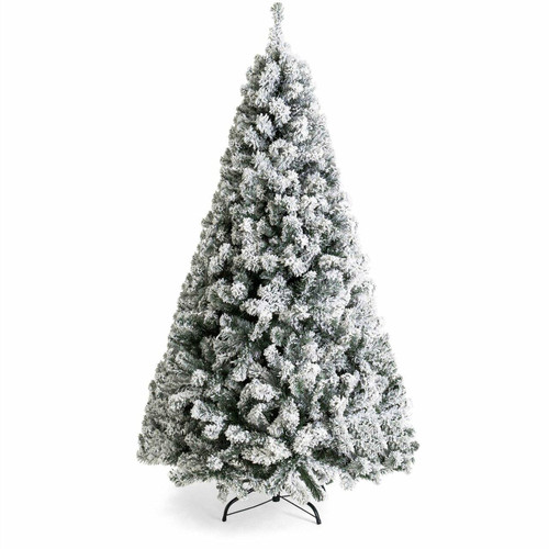 FastFurnishings 7.5 Foot Easy Set Up Snow Flocked Faux Pine Christmas Tree with Metal Stand