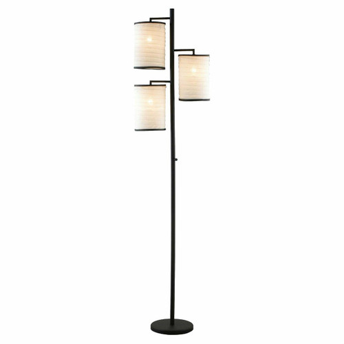 FastFurnishings Modern Japanese Style 3-Light Tree Floor Lamp with Cotton Shades