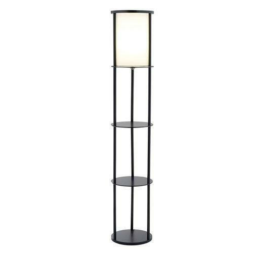 FastFurnishings Modern Asian Style Round Shelf Floor Lamp in Black with White Shade